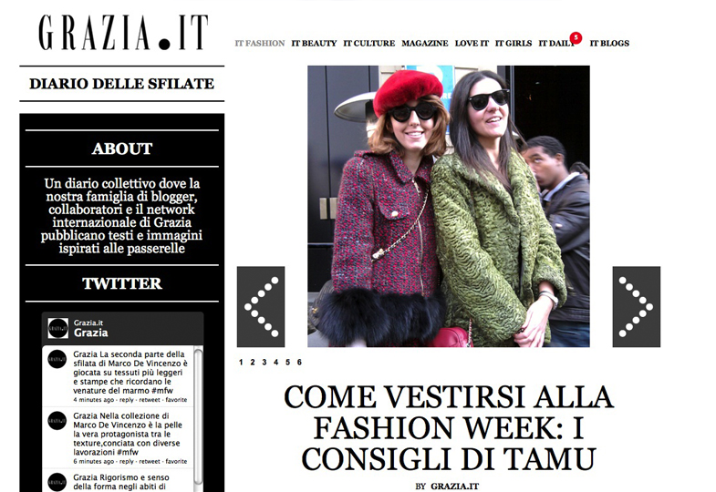 Lady Fur on Grazia.it with Ms. Degori Milan Fashion Week FW 2012