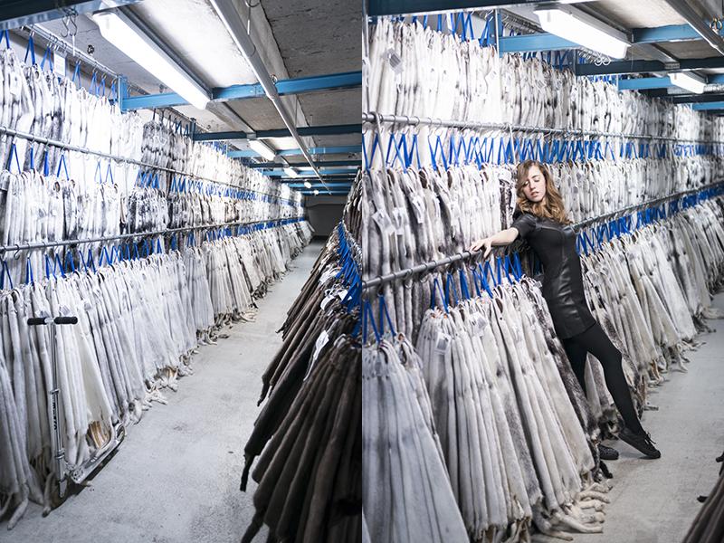 Lady fur inside Kopenhagen fur warehouse