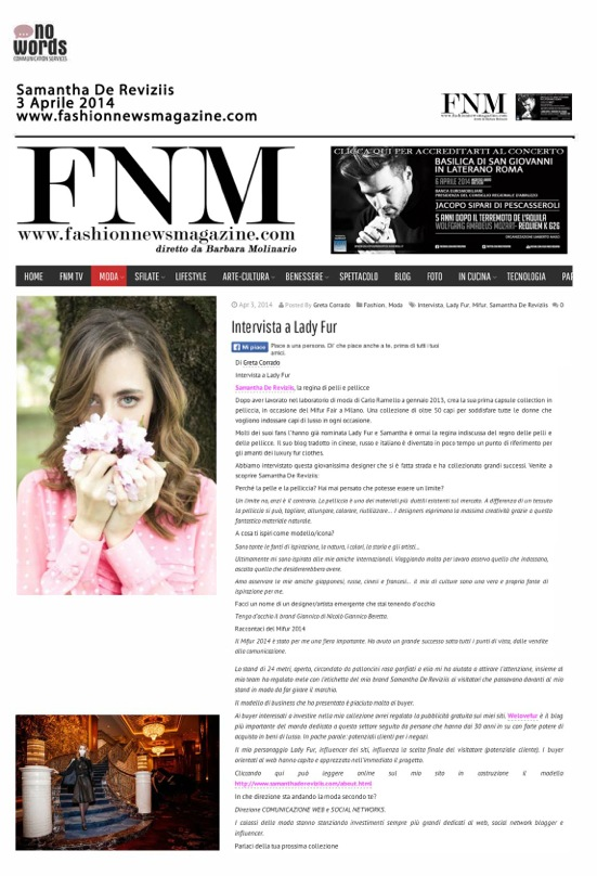MY INTERVIEW ON FASHIONNEWSMAGAZINE