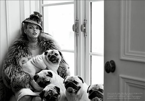 Lady with fur and dogs