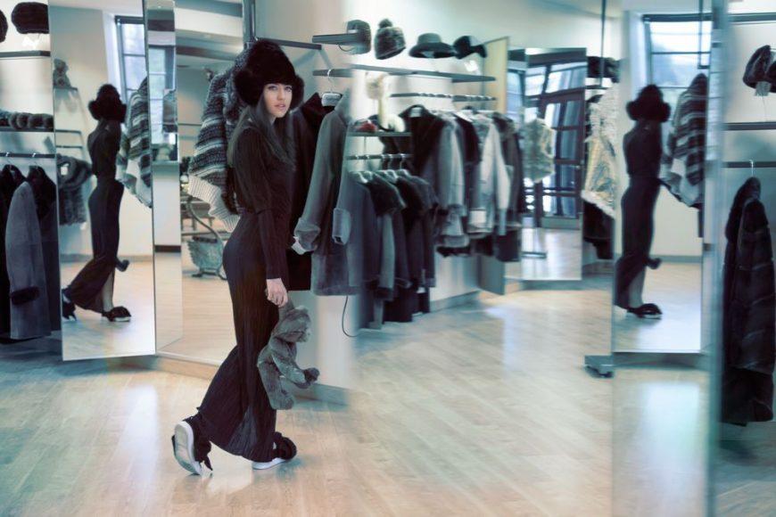 zara dress fur hat lady fur
