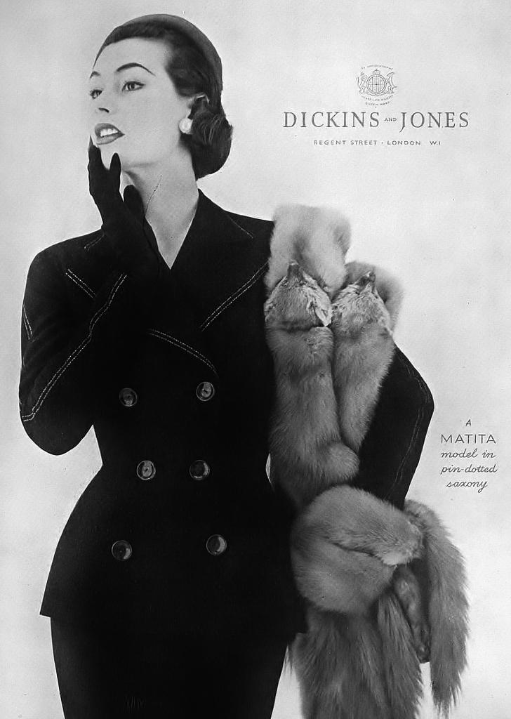 Model in black fur coat