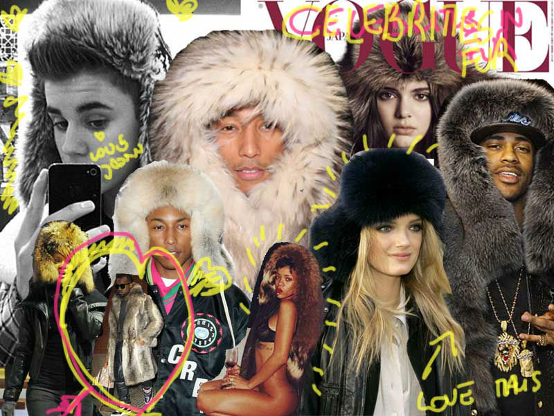 celebrities wearing trapper hat
