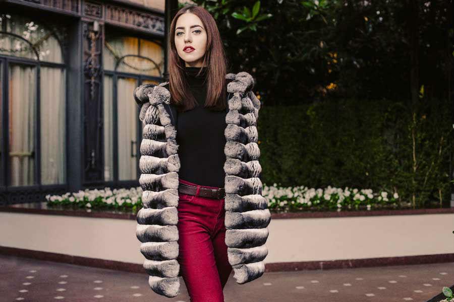 long chinchilla coat with hood