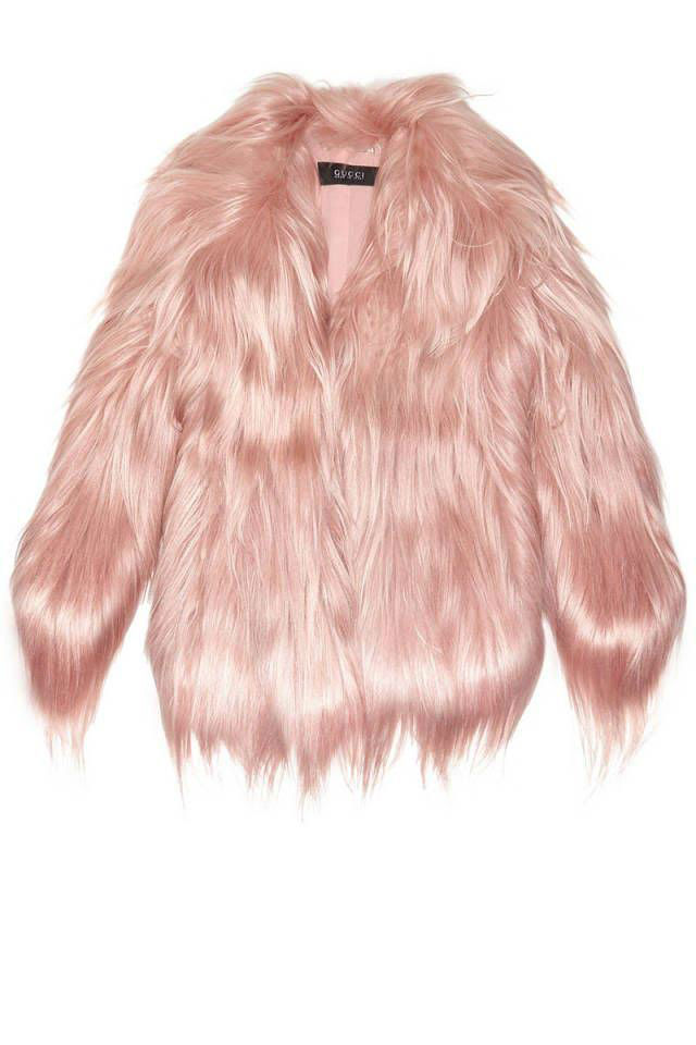 gucci light pink fur coat