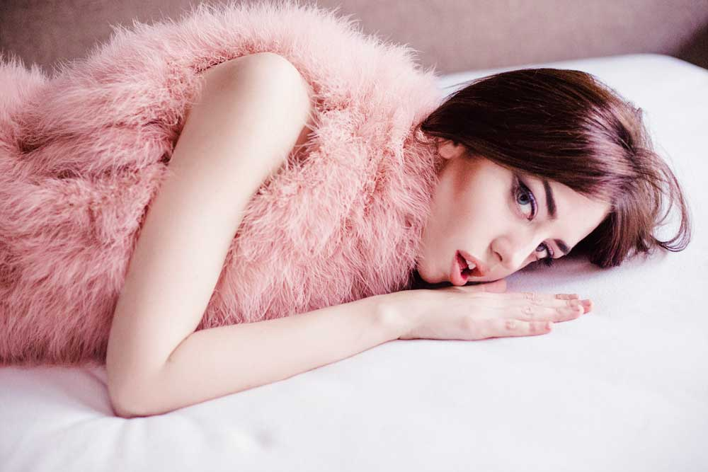 lady fur pink fur vest