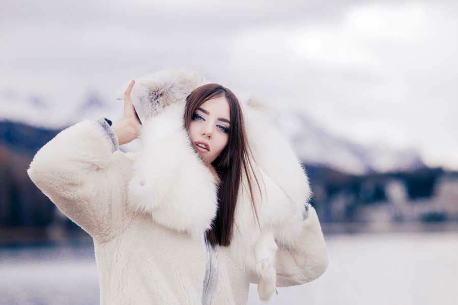 lady fur white fur coat