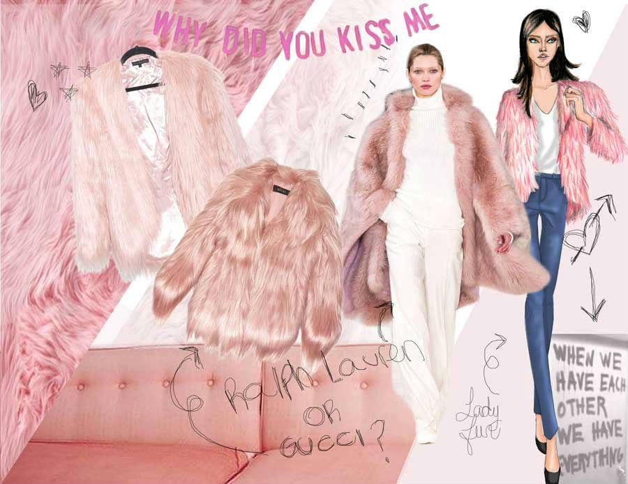 light pink fur coat moodboard