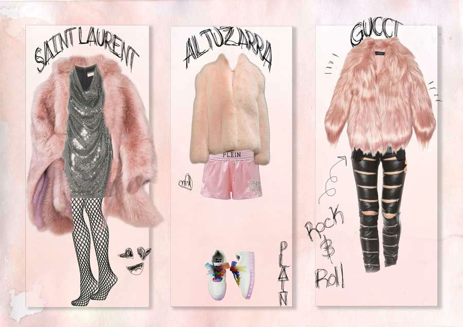 light pink fur coat trend