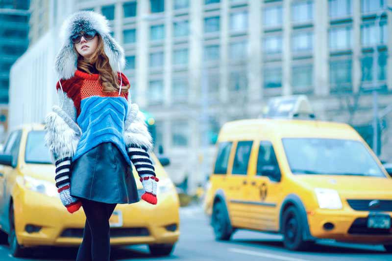 lady fur taking taxi new york fashion week wearing furlong hat
