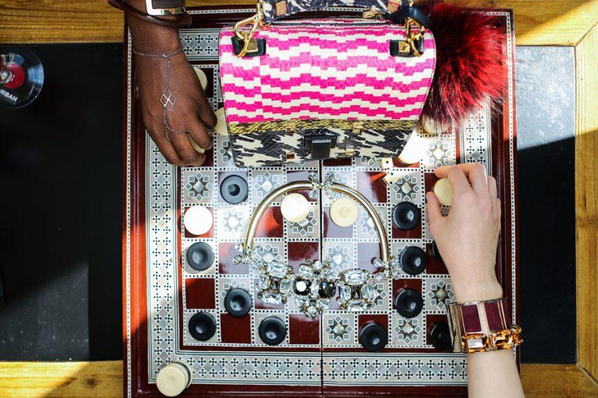 Giancarlo Petriglia bag and Dsquared2 jewelry
