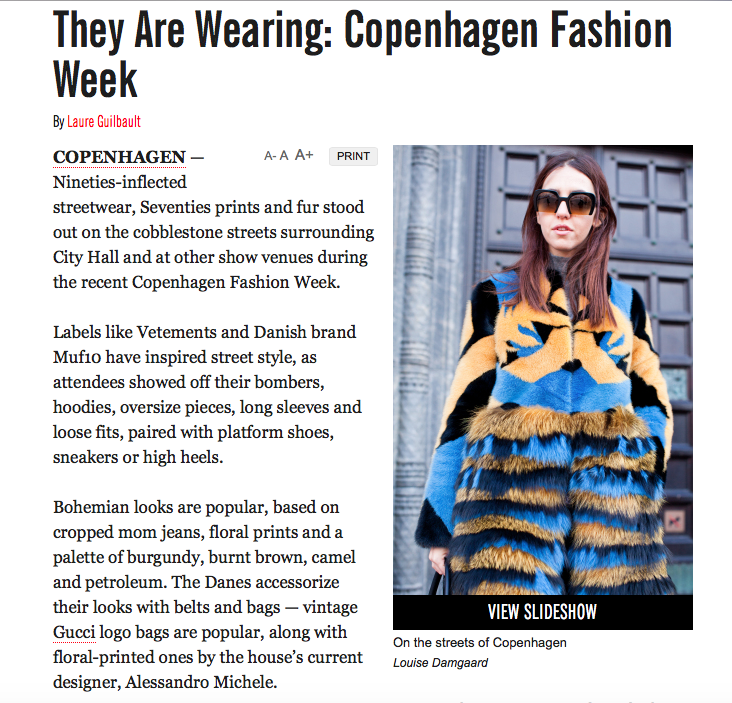 Lady Fur on WWD during Copenhagen Fashion Week