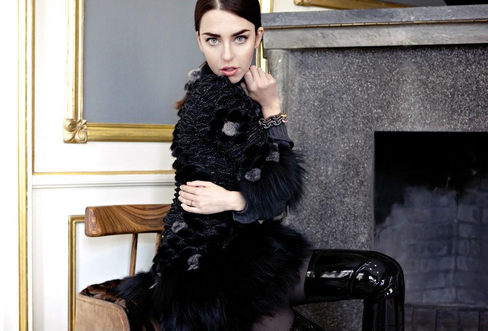 lady fur dress with fur