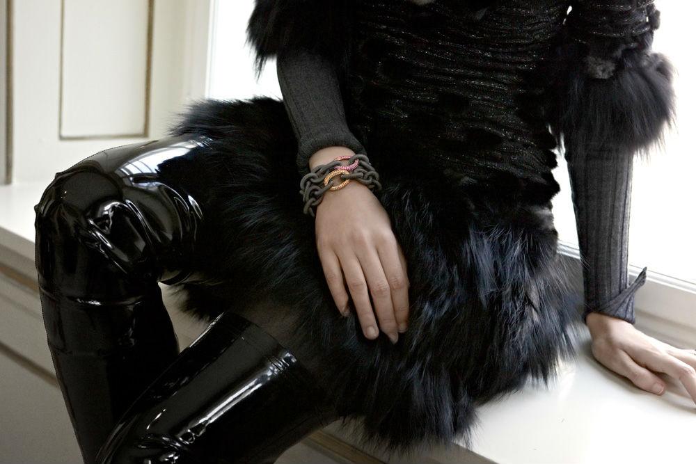 dress with fur details