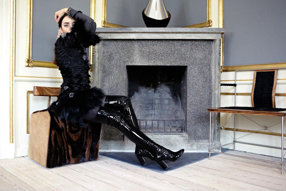 dress with fur lady fur