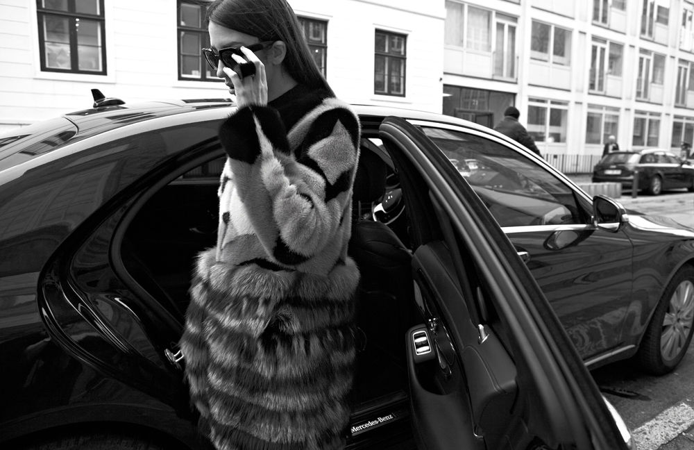 fur coat lady fur car with driver