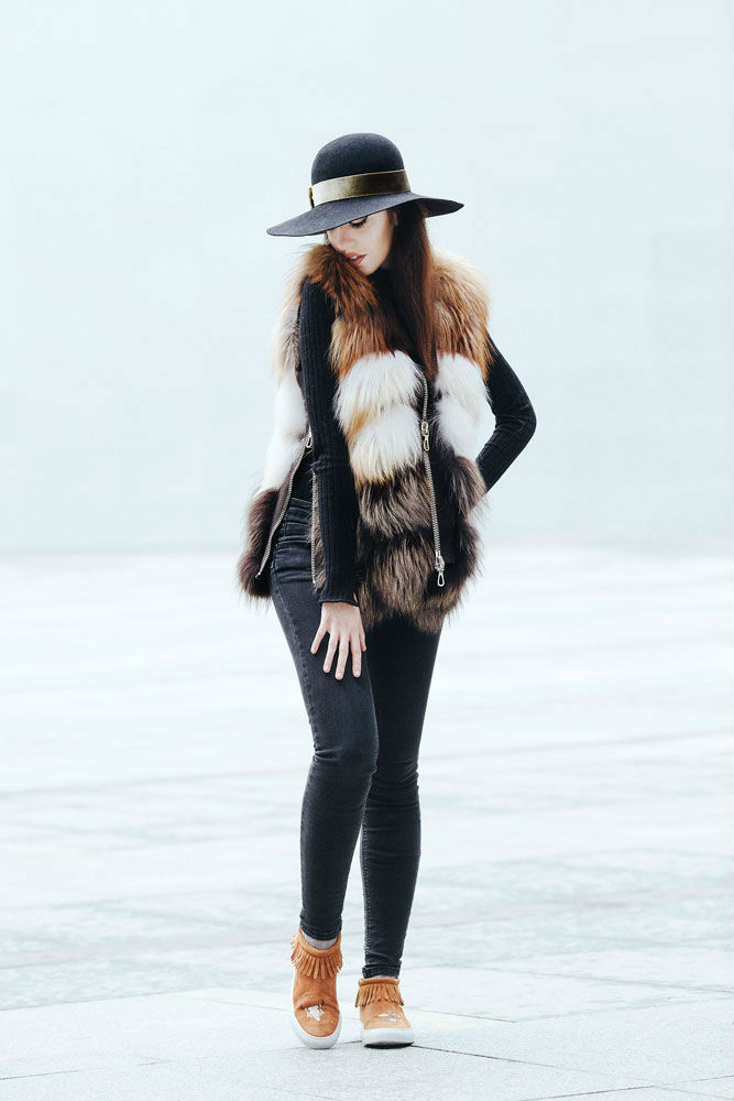 punto fox fur vest lady fur
