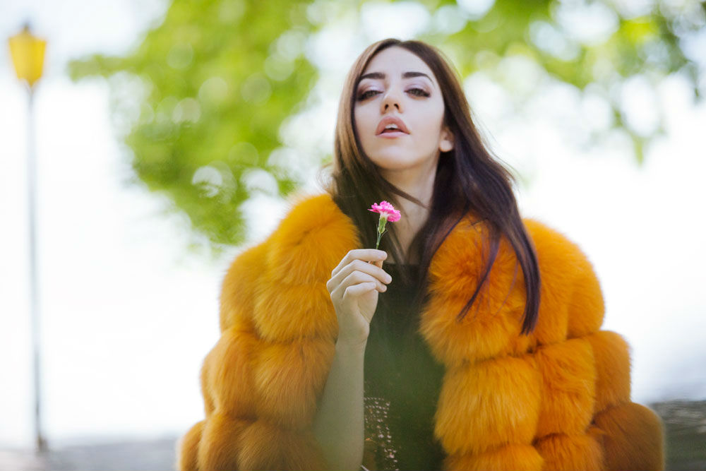 fox lady fur orange fur coat
