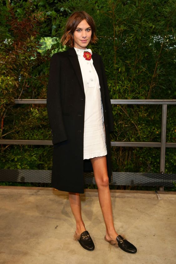 Alexa chung wearing leather shoes by gucci
