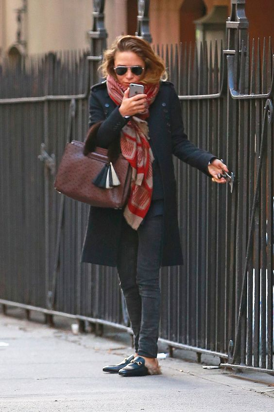 mary kate olsen wearing shoes with fur
