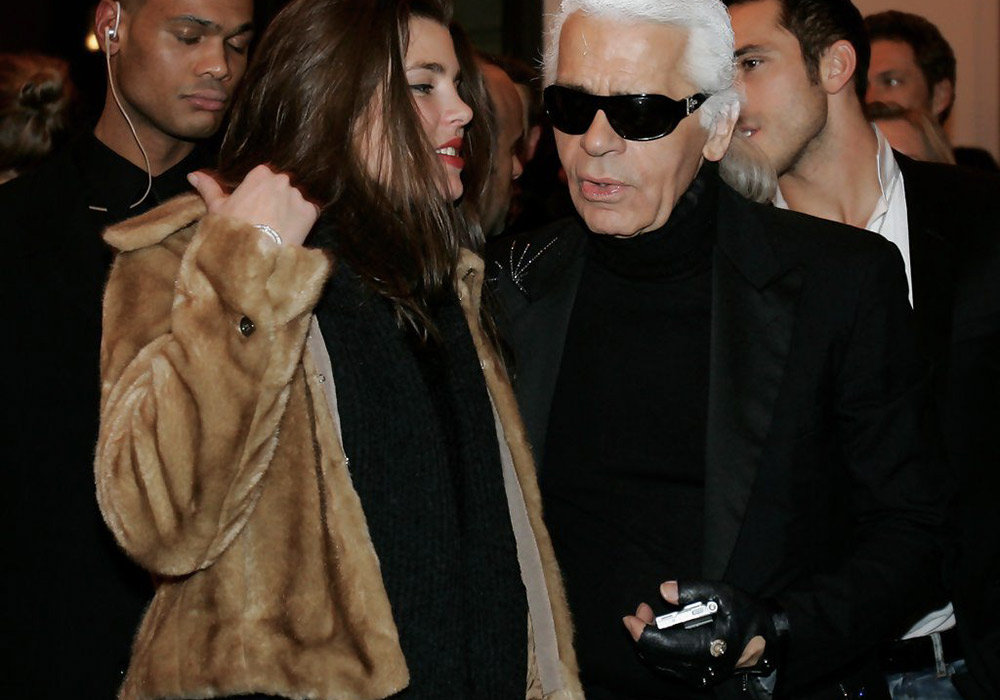 charlotte casiraghi in fur with karl lagerfeld