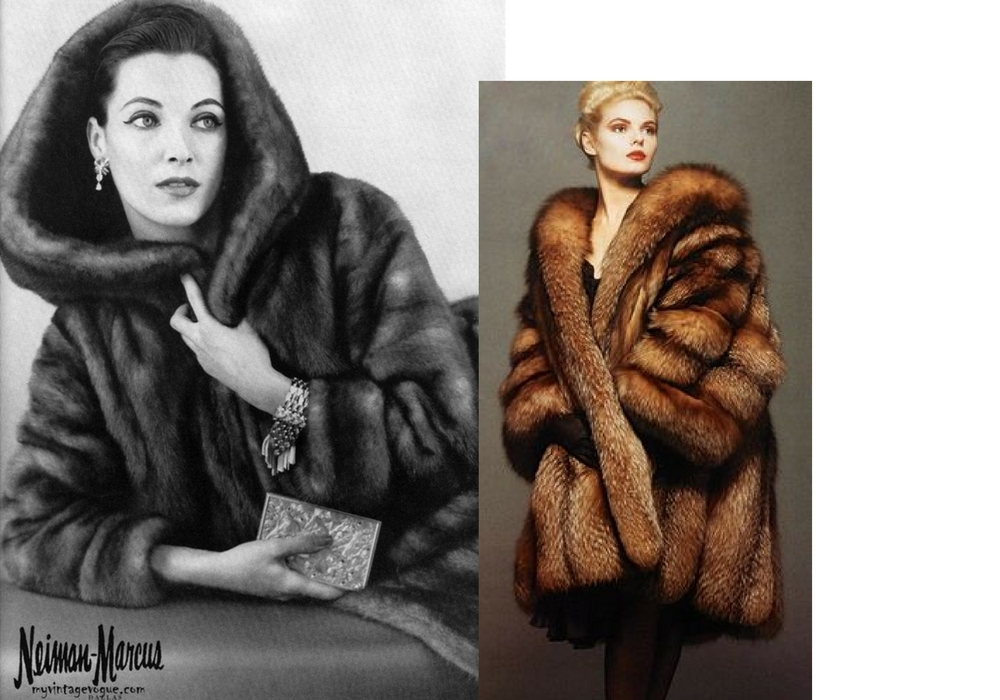big fox fur coat vintage