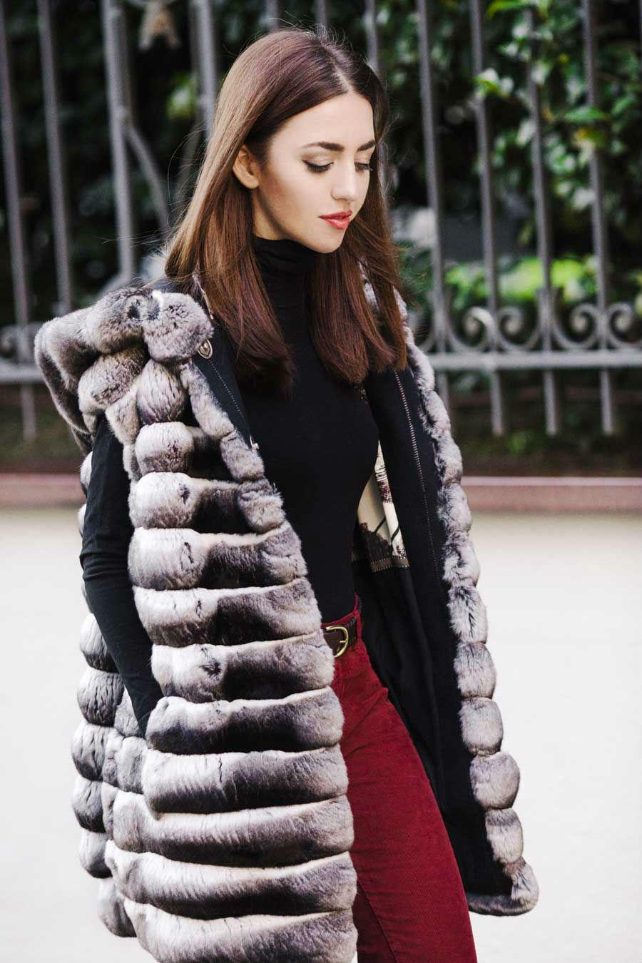 fur vest with hood