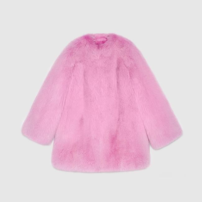 pink fur gucci