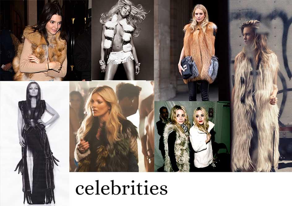 celebrities fur vests