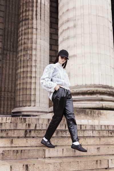 waliking outside elie saab fur fashion show