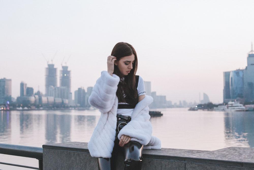 mink fur coat white