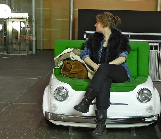 woman on 500 fiat sofa artissima turin