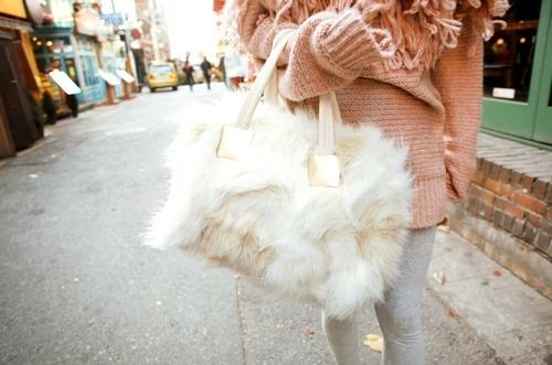 fur white bag