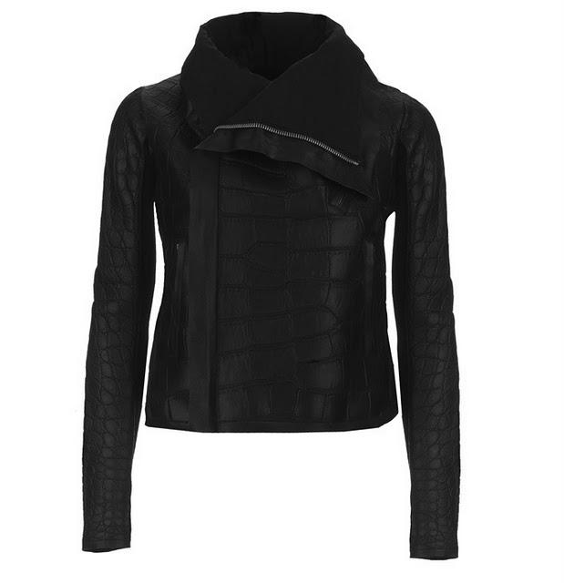 rick owens alligator jacket in black color