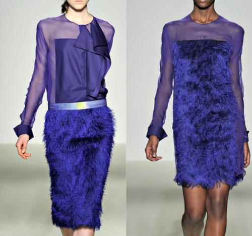 blue fur women dress