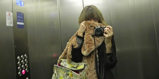 lady fur pic inside lift
