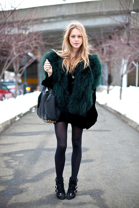 woman with fashion fox green coat