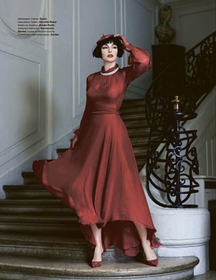 Monica Bellucci red clothes for tatler russia