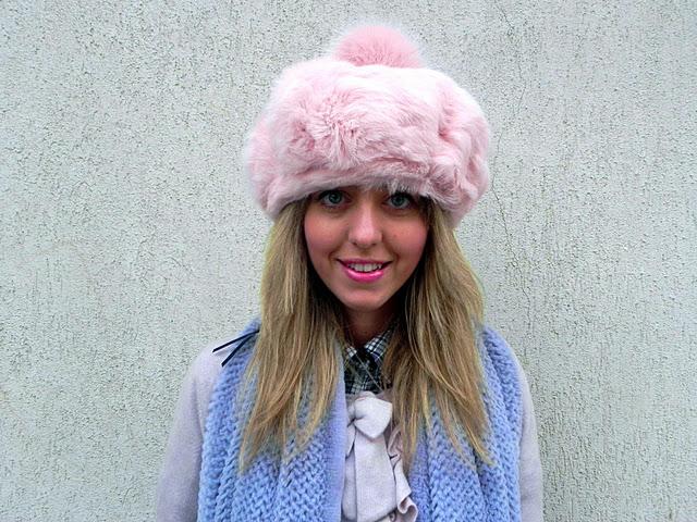 pink fur hat on lady fur