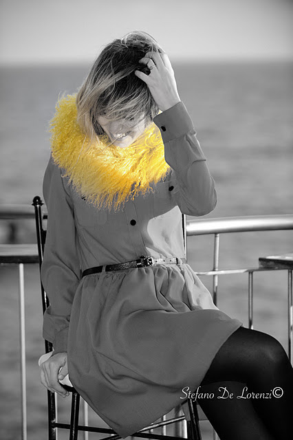 Lady fur with a yellow fur