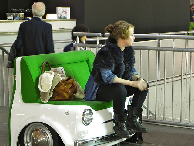 woman on 500 fiat sofa artissima art fair