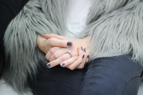 fashion fur grey coat